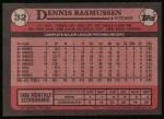 1989 Topps #32  Dennis Rasmussen  Back Thumbnail