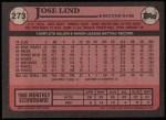 1989 Topps #273  Jose Lind  Back Thumbnail