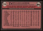 1989 Topps #156  Dave Gallagher  Back Thumbnail