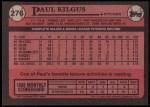 1989 Topps #276  Paul Kilgus  Back Thumbnail