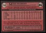 1989 Topps #742  Mike Harkey  Back Thumbnail