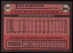 1989 Topps #681  Jeff D. Robinson  Back Thumbnail