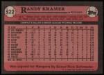 1989 Topps #522  Randy Kramer  Back Thumbnail