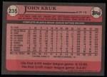 1989 Topps #235  John Kruk  Back Thumbnail