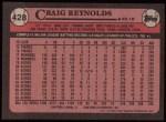1989 Topps #428  Craig Reynolds  Back Thumbnail