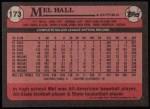 1989 Topps #173  Mel Hall  Back Thumbnail