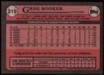 1989 Topps #319  Greg Booker  Back Thumbnail
