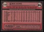 1989 Topps #238  Eric King  Back Thumbnail