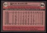 1989 Topps #621  Rick Mahler  Back Thumbnail