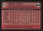 1989 Topps #574  Dave Clark  Back Thumbnail
