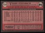 1989 Topps #725  Terry Steinbach  Back Thumbnail