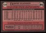 1989 Topps #426  Dan Gladden  Back Thumbnail