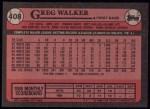 1989 Topps #408  Greg Walker  Back Thumbnail