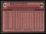 1989 Topps #25  Frank White  Back Thumbnail