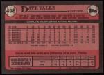 1989 Topps #498  Dave Valle  Back Thumbnail