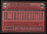 1989 Topps #234  Tom Browning  Back Thumbnail