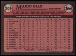 1989 Topps #309  Mario Diaz  Back Thumbnail