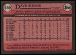1989 Topps #589  Dave Meads  Back Thumbnail