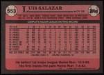 1989 Topps #553  Luis Salazar  Back Thumbnail