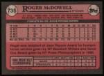 1989 Topps #735  Roger McDowell  Back Thumbnail