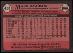 1989 Topps #451  Mark Davidson  Back Thumbnail