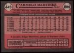 1989 Topps #449  Carmelo Martinez  Back Thumbnail
