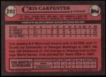 1989 Topps #282  Cris Carpenter  Back Thumbnail