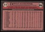 1989 Topps #77  Doyle Alexander  Back Thumbnail
