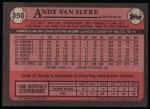 1989 Topps #350  Andy Van Slyke  Back Thumbnail