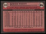 1989 Topps #289  Ernie Whitt  Back Thumbnail