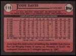 1989 Topps #115  Jody Davis  Back Thumbnail
