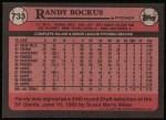 1989 Topps #733  Randy Bockus  Back Thumbnail