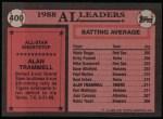 1989 Topps #400   -  Alan Trammell All-Star Back Thumbnail