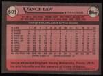 1989 Topps #501  Vance Law  Back Thumbnail