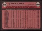 1989 Topps #359  Tommy John  Back Thumbnail