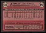1989 Topps #590  Andres Galarraga  Back Thumbnail