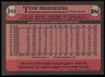 1989 Topps #342  Tom Brookens  Back Thumbnail
