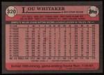 1989 Topps #320  Lou Whitaker  Back Thumbnail