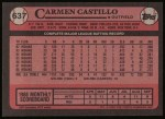 1989 Topps #637  Carmen Castillo  Back Thumbnail