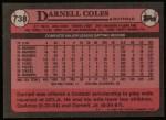 1989 Topps #738  Darnell Coles  Back Thumbnail