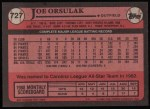1989 Topps #727  Joe Orsulak  Back Thumbnail
