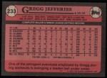 1989 Topps #233  Gregg Jefferies  Back Thumbnail