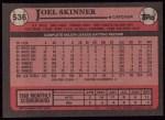 1989 Topps #536  Joel Skinner  Back Thumbnail
