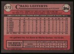 1989 Topps #372  Craig Lefferts  Back Thumbnail