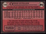 1989 Topps #195  Ozzie Guillen  Back Thumbnail