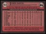 1989 Topps #162  John Davis  Back Thumbnail