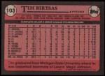 1989 Topps #103  Tim Birtsas  Back Thumbnail