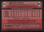 1989 Topps #687  Alvin Davis  Back Thumbnail