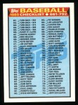 1989 Topps #782   Checklist 661-792 Front Thumbnail
