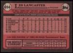 1989 Topps #694  Les Lancaster  Back Thumbnail